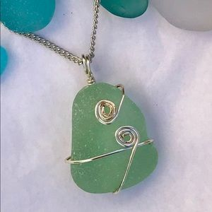 Jewelry - SEAFOAM SEAGLASS Green Wire Wrapped Necklace